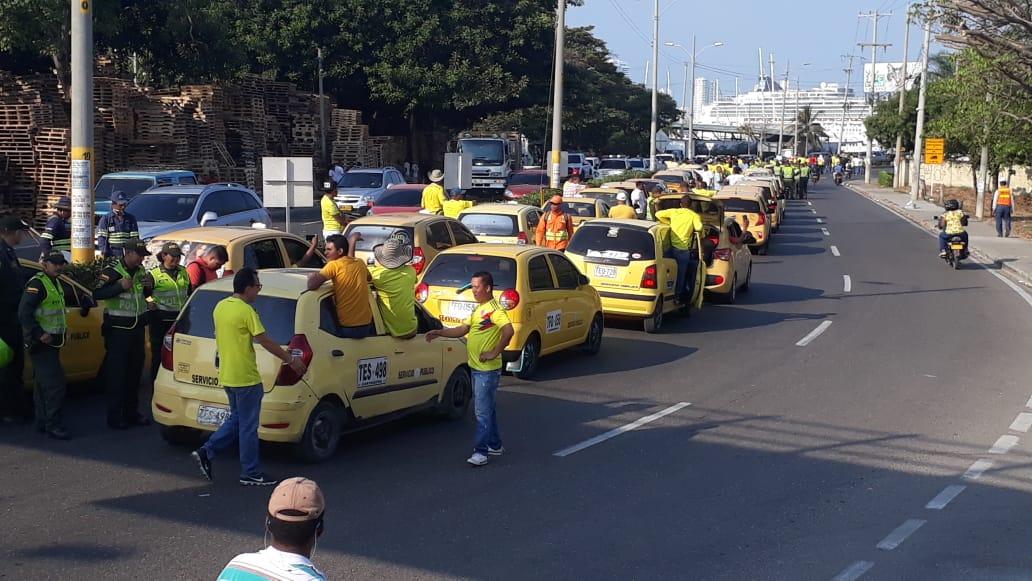 Así transcurrió la movilización de los taxistas en la ciudad