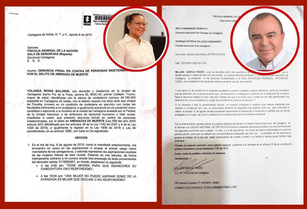 Dos candidatos a la alcaldía de Cartagena amanecieron amenazados de muerte