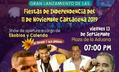 """Este viernes Gran Lanzamiento de Fiestas de Independencia del 11 de noviembre 2019 """"Resuena Cartagena Volumen 2"""""""