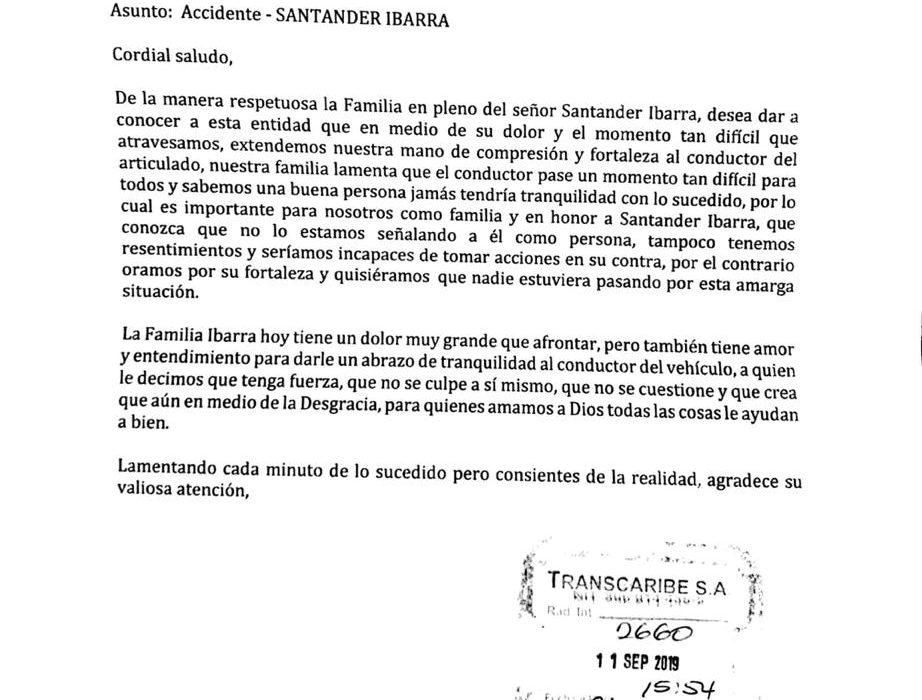 Familia de Santander Ibarra envía carta emotiva a operador de Transcaribe